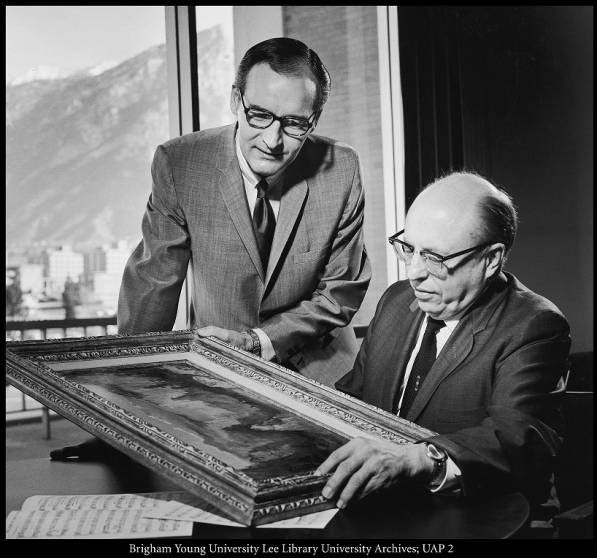 Dr. Lorin F. Wheelwright, right, a noted Utah music educator, composer
